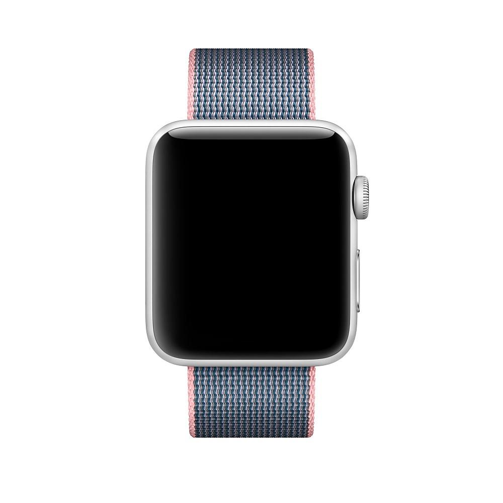 Ремешок из плетёного нейлона Apple (светло-розовый/тёмно-синий)