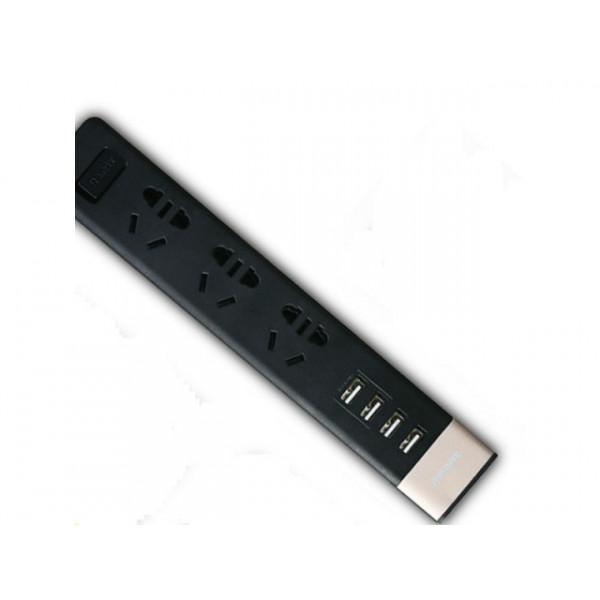 Сетевой фильтр Remax RU-S2 (3 розетки + 4 usb) 2м Black