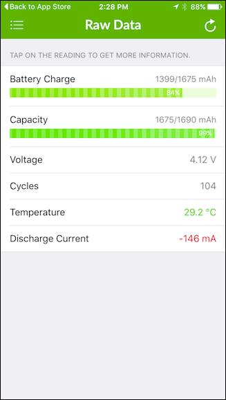 ток напряжение батареи, сколько циклов заряда вы подвергли батарею, текущая температура (высокая температура значительно ухудшает срок службы батареи) и наконец, разряд батареи