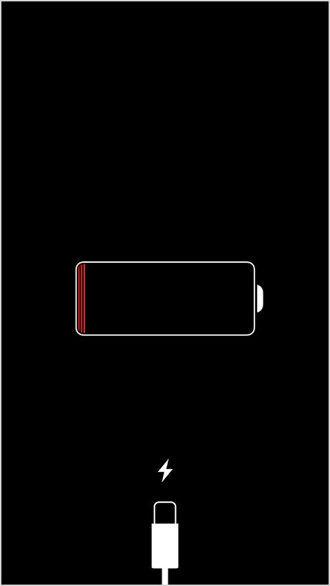 Изображение низкого уровня заряда аккумулятора на экране устройства iPhone